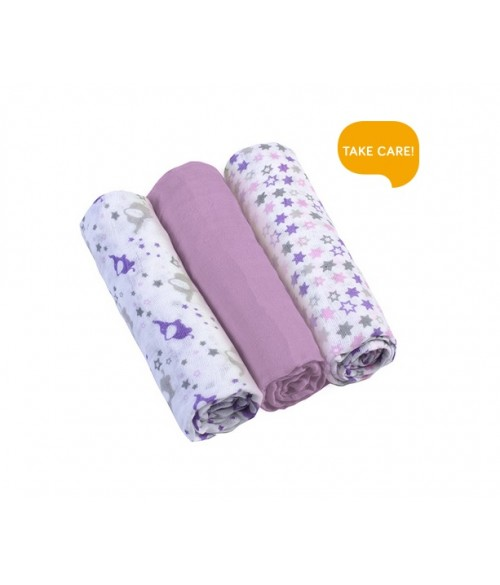 Muslīna autiņu komplekts SUPER SOFT (3 gab.) violet  BabyOno 348/04