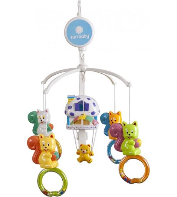 """Muzikālais karuselis """"Vāverītes"""" (ar nakts lampu) SunBaby B10.011.1.1"""