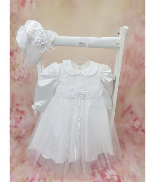 """Kleita+berete """"ROZANA"""" balta Baby Colibra (13397) 74 cm"""