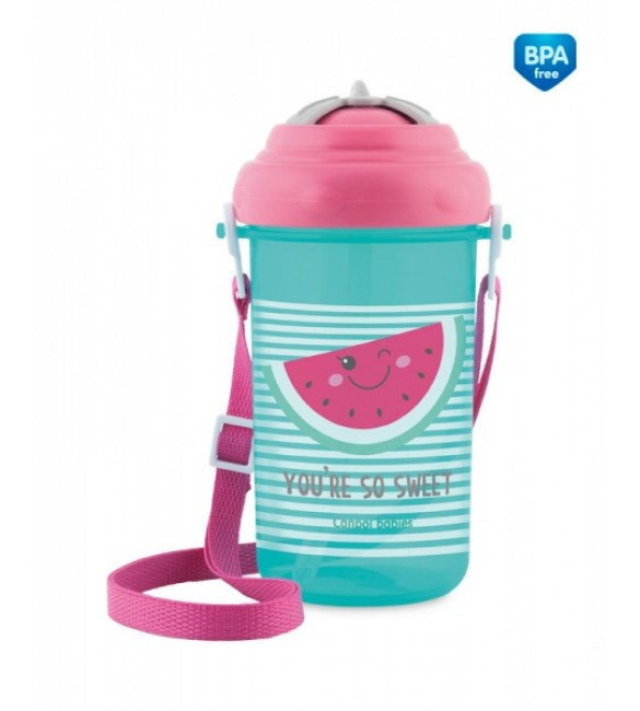 Pudele-bidons ar salmiņu  Canpol 4/102 pink
