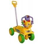 Pelīte-mašīna ar stumjamo rokturi  FUNNY yellow-izpārdošana