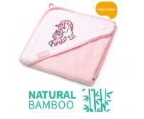 Bambusa dvielis ar kapuci 76x76 cm , Babyono 345/01 pink